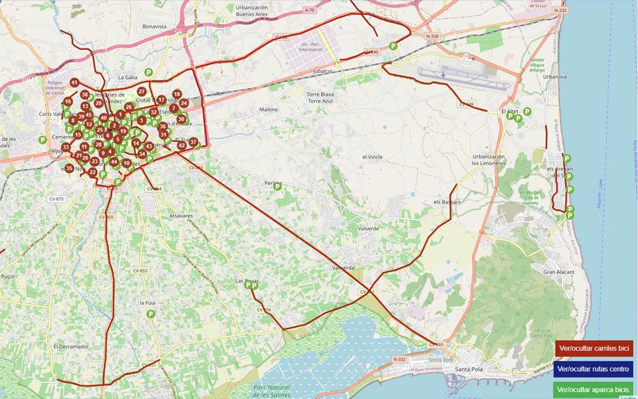 Movilidad unifica el mapa con la información sobre estaciones de Bicielx, aparcabicis y carriles bicis
